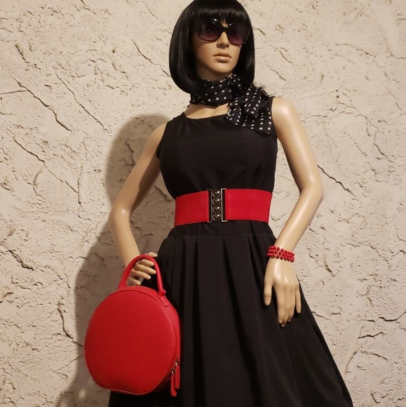 Dresses & Skirts - New black dress, red belt and polka dot scarf